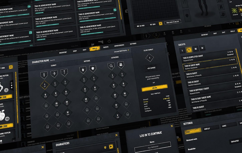 Horror Grunge Dark GUI / UI Kit