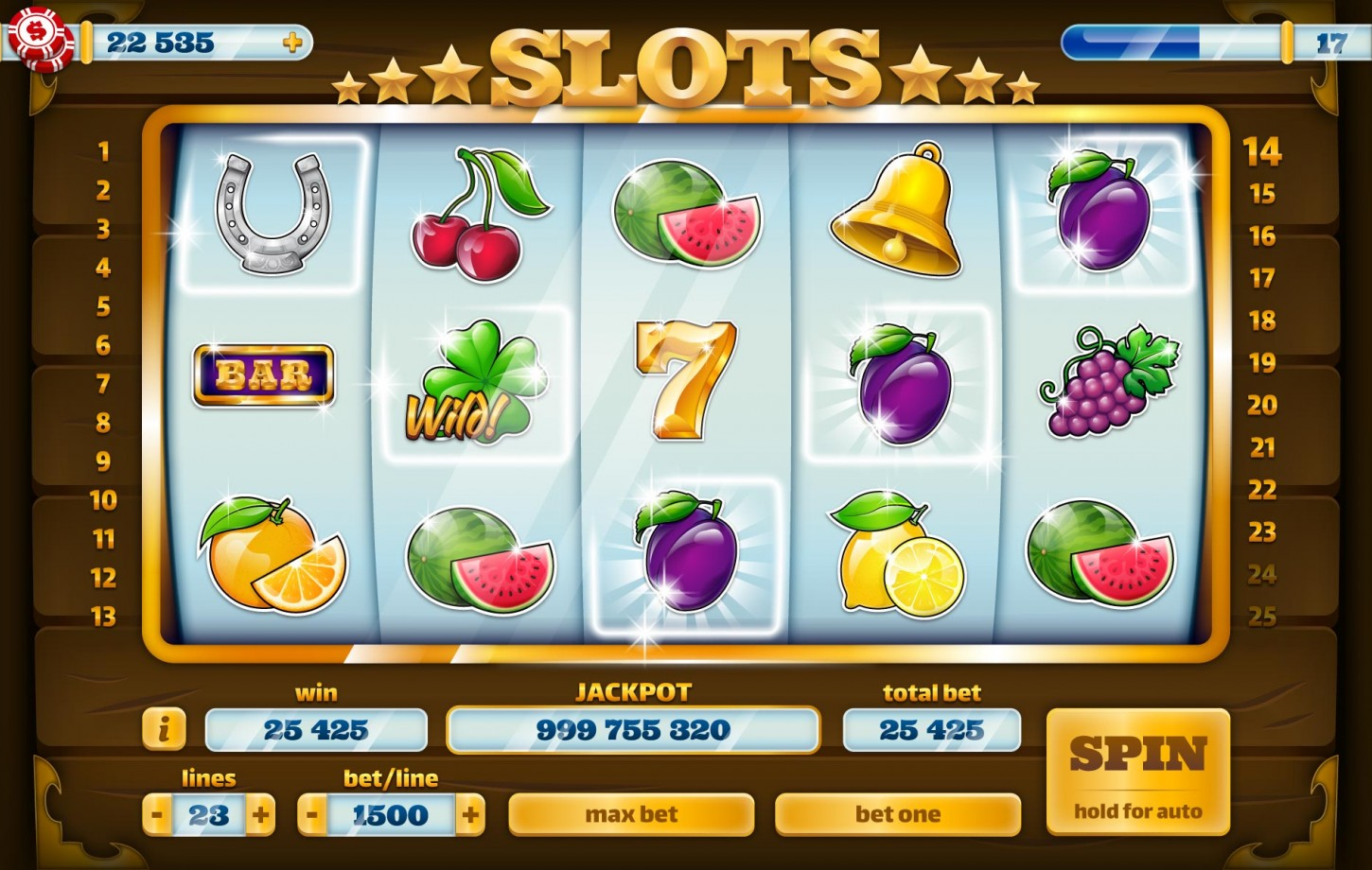 Slots Cassino UI Animated GUI Game Kit