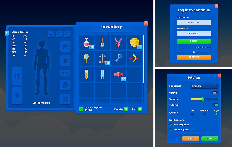 Blue Casual GUI / UI Kit