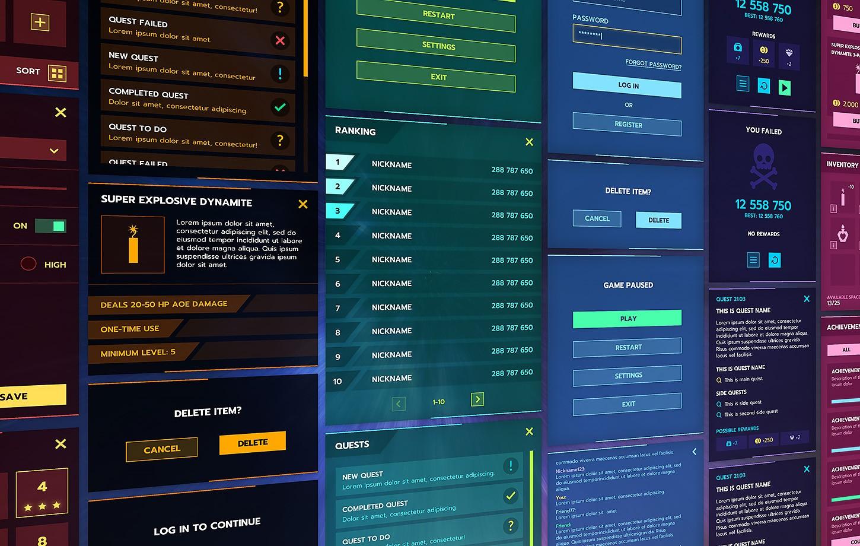 Flat Modern Themed GUI / UI Kit