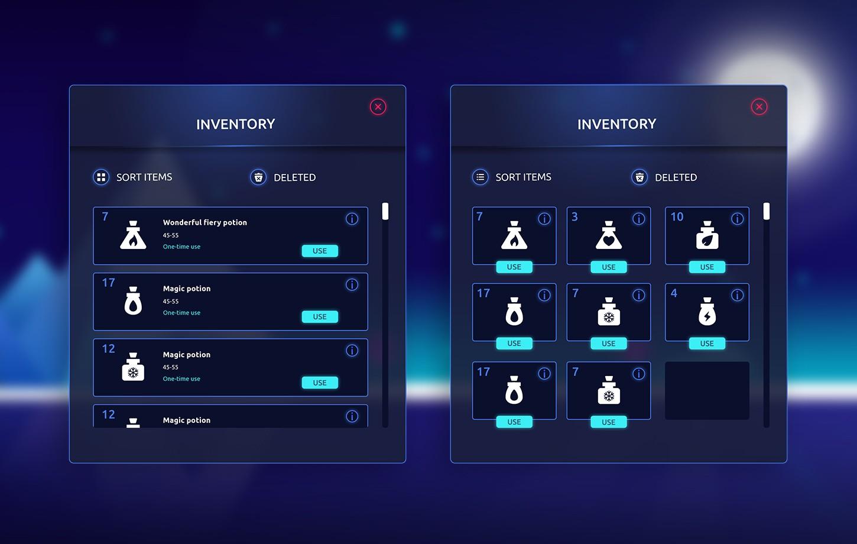 Uniwersalne GUI do gier i aplikacji - Dark Glowing Flat
