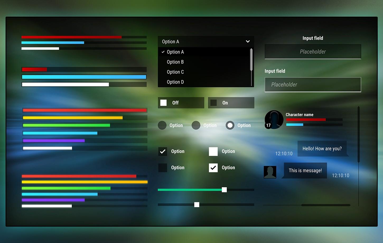 Dark Flat Fullscreen GUI / UI Kit