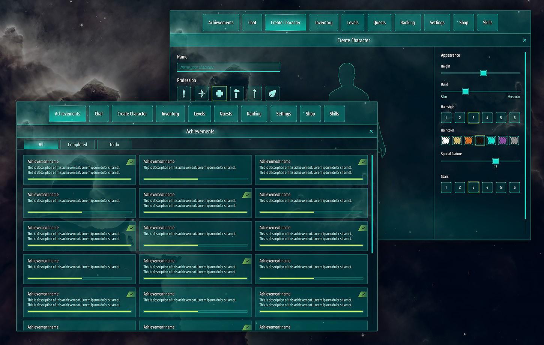 Sci-Fi, Space full GUI / UI Kit